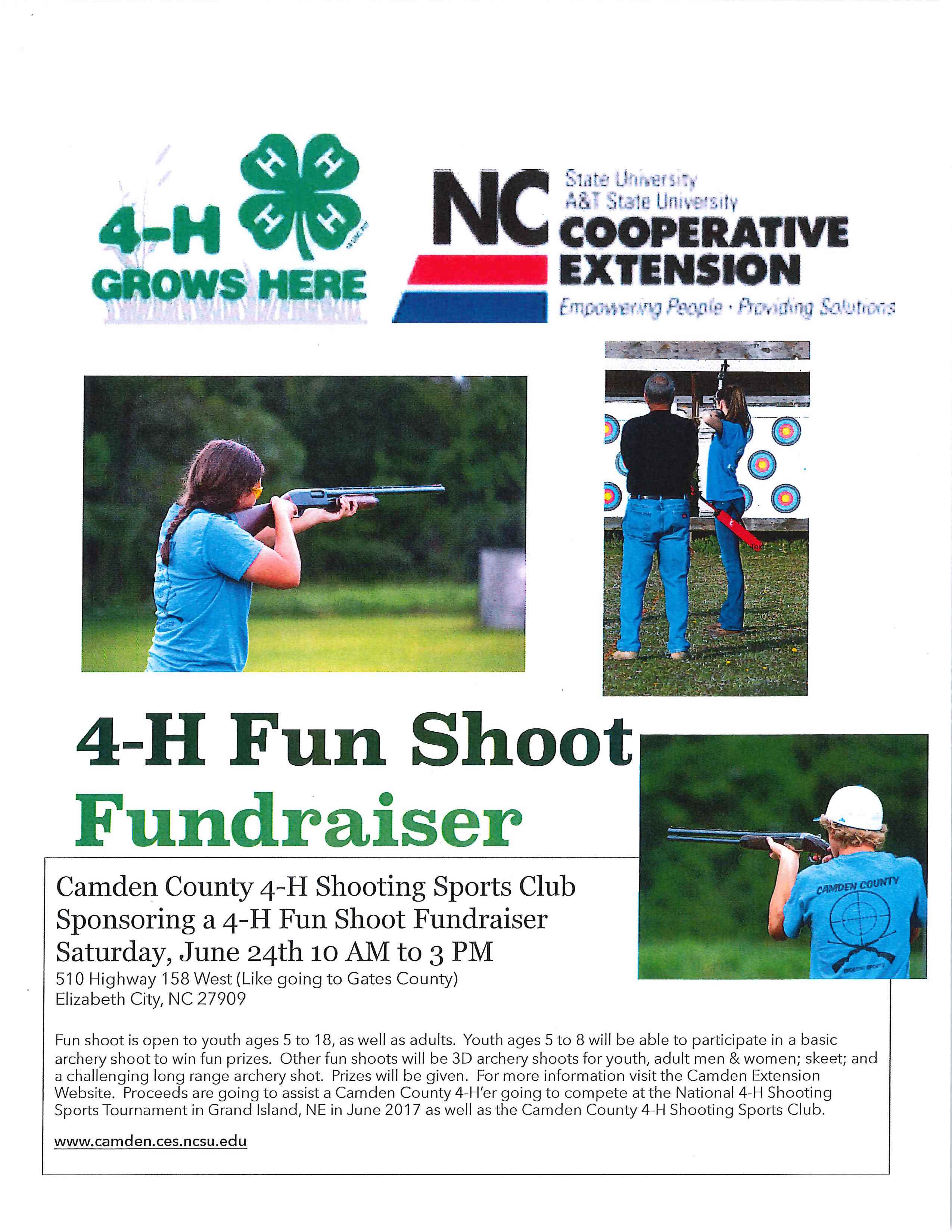 4-H Fun Shoot Fundraiser poster
