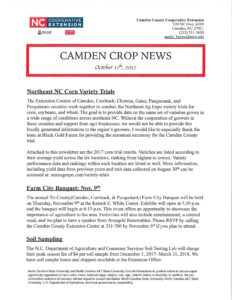 Cover photo for Camden Crop News-Latest Edition