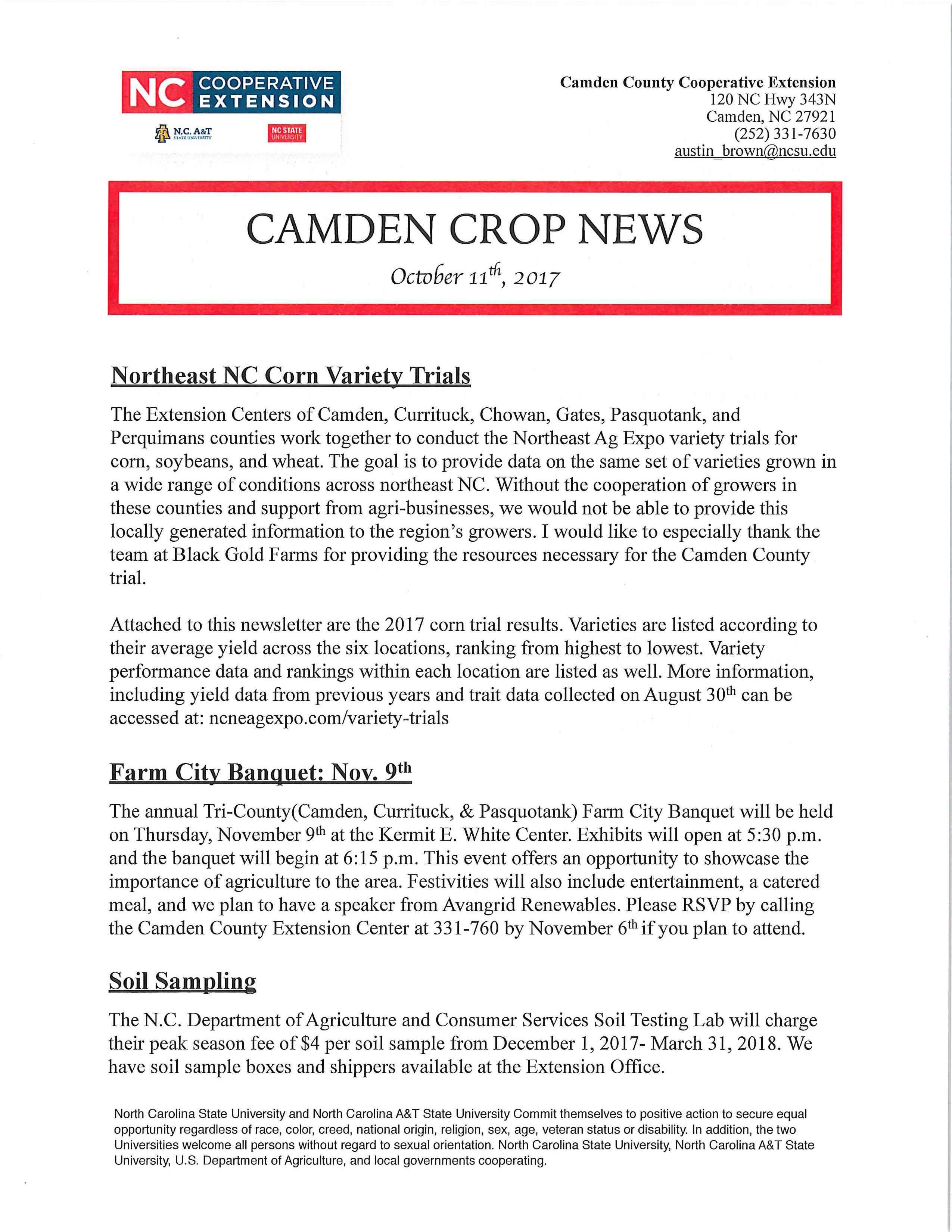Camden Crop Newsletter for October 2017