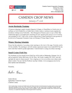 Cover photo for Camden Crop News: January 11th, 2018