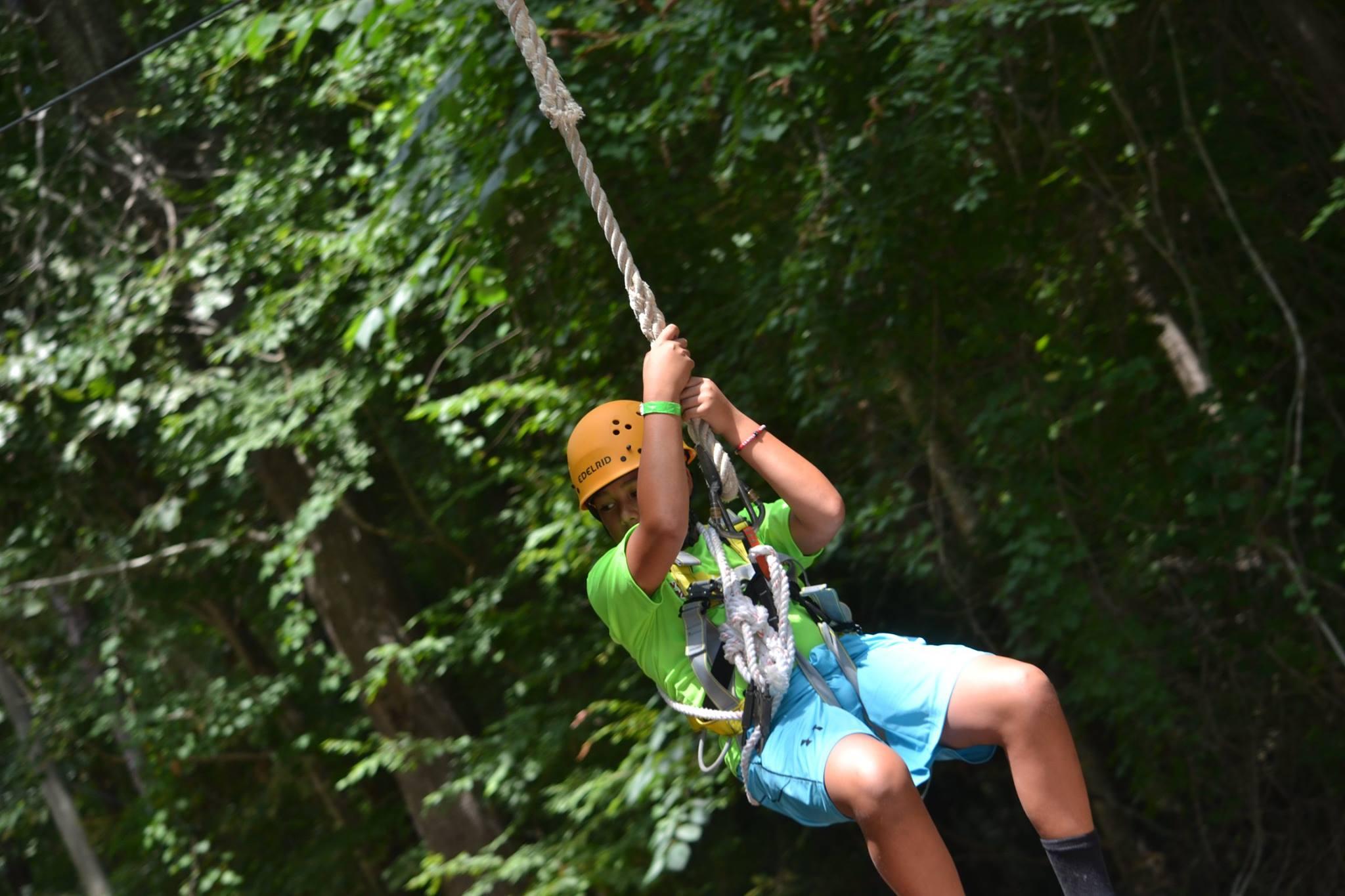 Child on zipline image