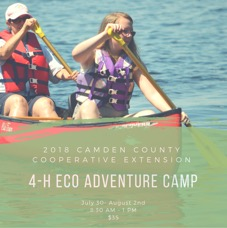 4-H ECO Adventure Camp poster showing two youth canoeing