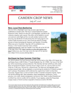 Cover photo for Camden Crop News:  July 18, 2018