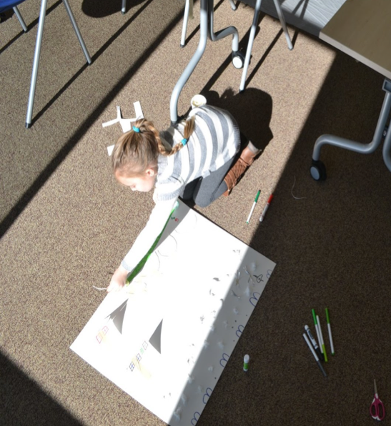 child making a poster