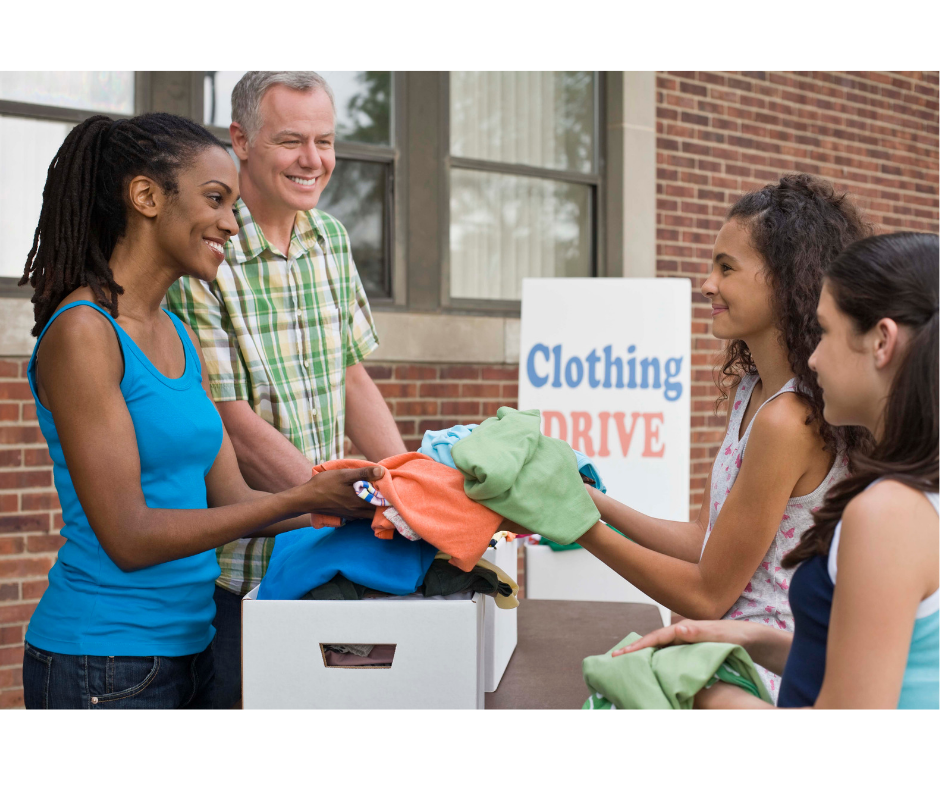 youth donating to clothing drive