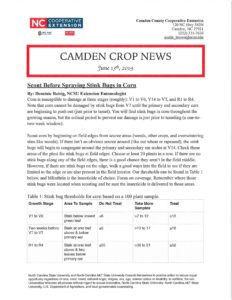 Cover photo for New Edition of Camden Crop News