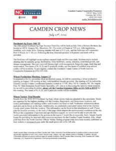 Cover photo for July 2019 Camden Crop News