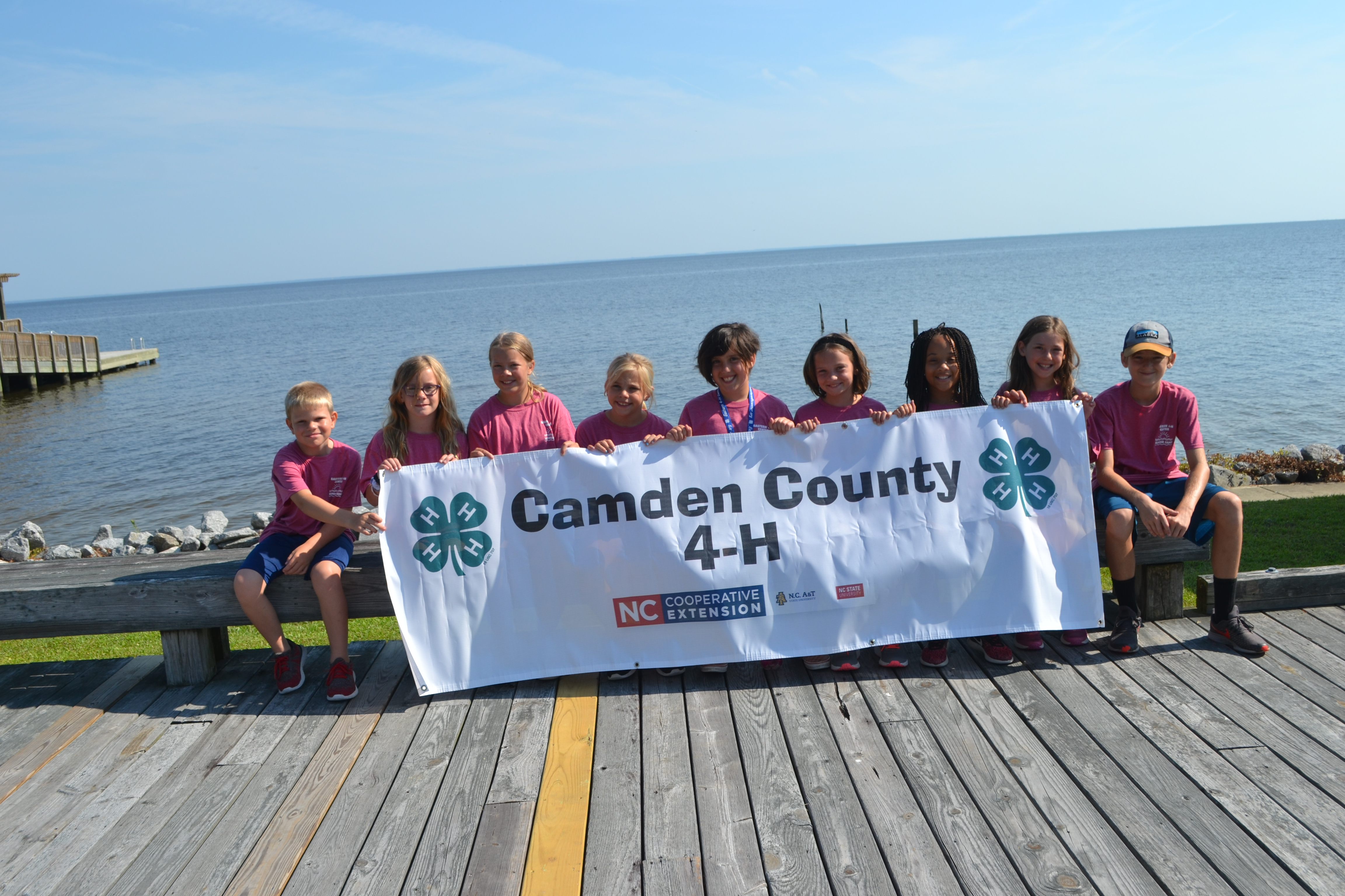 campers holding the Camden County 4-H banner