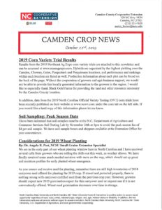Cover photo for Latest Edition of Camden Crop News