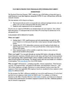 Paycheck protection program information sheet