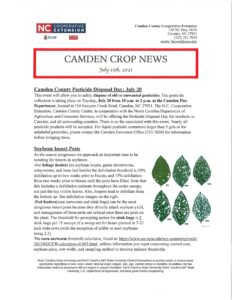 Cover photo for Camden Crop News: July 15, 2021
