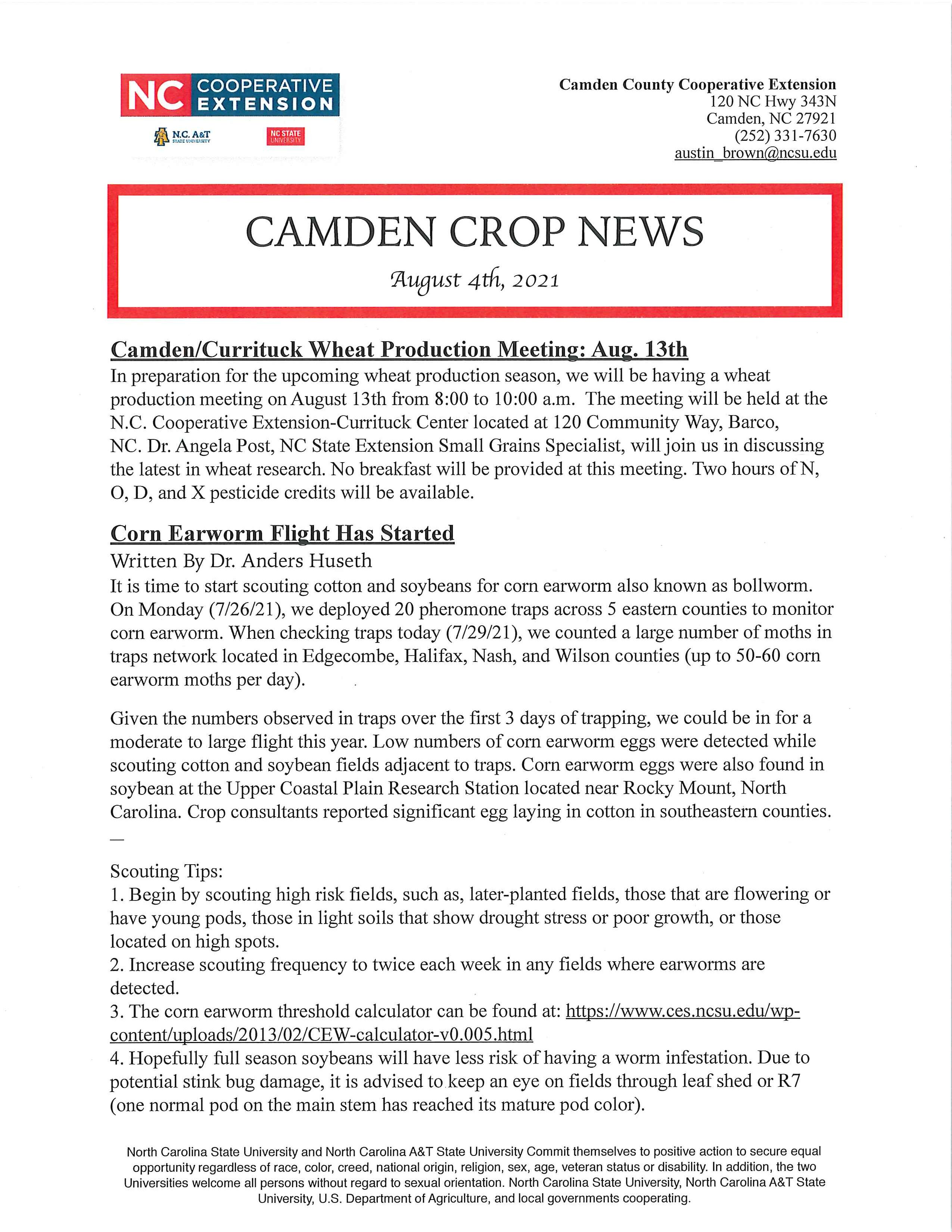 Camden County Crop News flyer